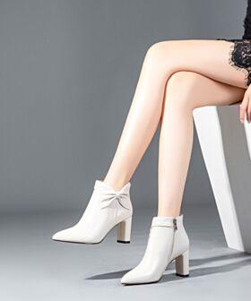 Fourrées Bottes Femme Talon Mid Chaussures Travail Chelsea 2018 D hiver Talon Carrés Cuir Bottines Blanche Classique