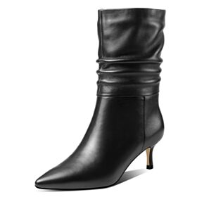 Pointed Toe High Heel Simple Stiletto Heels Booties Leather 2018 Black Boots For Women Office Shoes