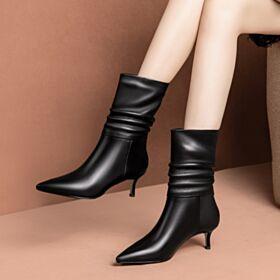 2018 Business Schuhe Damen Ankle Boots 9 cm Mit Absatz Leder Stilettos Schwarz Stiefel