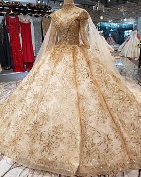 In Pizzo Con Perline Schiena Scoperta Oro Paillettes Principessa Vestiti Da Sposa Manica Lunga