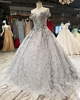 Lace Off The Shoulder Glitter Sexy Ball Gowns Gray Open Back Prom Dresses