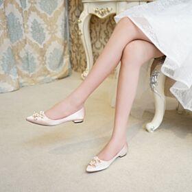 2019 Chaussure Mariée Ballerine Avec Perle Plates Chaussure Demoiselle D honneur Satin Bout Pointu Champagne