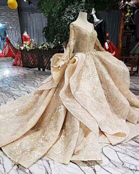 Lange Prinzessin Hochzeitskleider Rüschen Glitzernden Mit Schleppe Glitzer Gold Luxus Pailletten Schulterfreies Spitzen Lange Ärmel