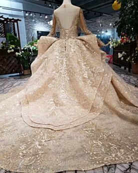 Tulle Glitter Oro Paillettes Manica Lunga Abiti Da Sposa Bellissimi