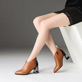 Blokhakken Leren Comfort 7 cm Heel Gevoerde Enkellaarsjes Chelsea Boots
