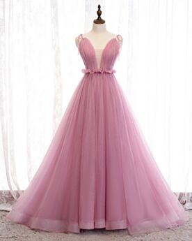 Low Cut Prom Dress Sleeveless Blushing Pink Ball Gown Long Quinceanera Dress Spaghetti Strap Vintage