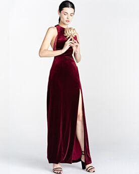 Fendue Epaule Nu Bordeaux 2020 Longue Robe Demoiselle D'honneur Empire Velours Belle Simple Robe Soirée Sans Manches