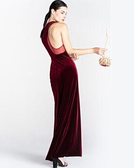 Charming Bridesmaid Dress For Wedding Velvet Cold Shoulder Evening Dresses Burgundy Simple
