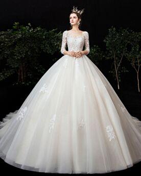 Boule Longue Blanche Tulle Manche Longue Robe De Mariée Dos Nu