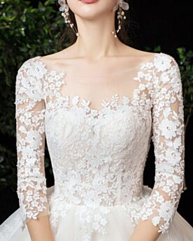 Beautiful Bridals Wedding Dress Ball Gown Church Open Back Long Sleeves