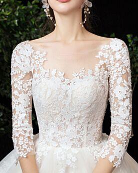 Rückenfreies Eckigem Ausschnitt Tüll Brautkleid Lange Ärmel Elegante Prinzessin