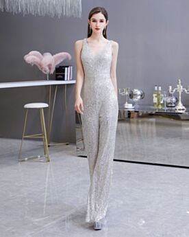 Silver Formal Evening Jumpsuits Sparkly Plunge Open Back Sequin High Waisted Pants Long