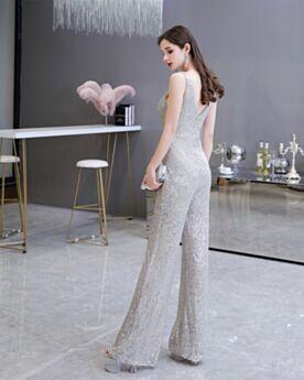 Tiefer Ausschnitt Jumpsuit High Waist Glitzernden Abendkleid Ärmellos Silber Pailletten Weihnachtskleider