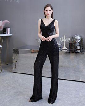 Tiefer Ausschnitt Abendkleider Weite Beinhose Lange Schwarz Silvester Kleid Glitzernden Pailletten Rückenausschnitt Jumpsuit