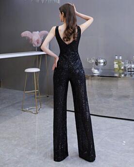 Combinaison Pantalon Taille Haute Noire Sans Manches Pantalon Large Longue Robe Nouvel An De Soirée Dos Nu Sequin