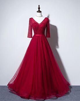 A Linie Rückenfreies Lange Ärmel Lange Brautjungfernkleider Rot Abendkleid Festliche Kleider Perlen