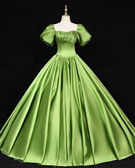 Abiti Cerimonia Raso Maniche A Campana Abiti Da Ballo Lunghi Scollo Quadrato Principessa Verde Vintage Maniche Corte