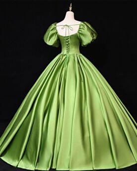 Longue Robe De Bal Robe Habillée Boule Originale Manche Cloche Vert Clair Strass