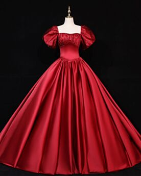 Burgundy Bell Sleeve Simple Quinceanera Dresses Vintage Ball Gowns Prom Dresses