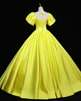 Ball Gowns Vintage Long Simple Prom Dresses Yellow Short Sleeve Rhinestones Quinceanera Dress