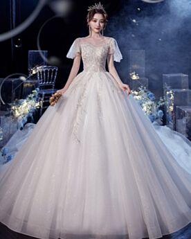 Ivory Bridals Wedding Dress Elegant Glitter Backless Scoop Neck A Line Tulle