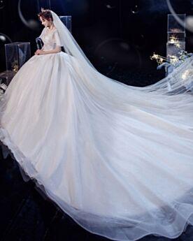 キラキラ ロング グリッター 半袖 ウエディング ドレス バックレス チュール アイボリー エレガント A ライン 1121090810