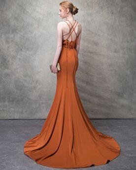 Sommer Abendkleider Abiballkleid 2018 Chiffon Rückenfreies Sexy Orange Perlen Neckholder Schlichte