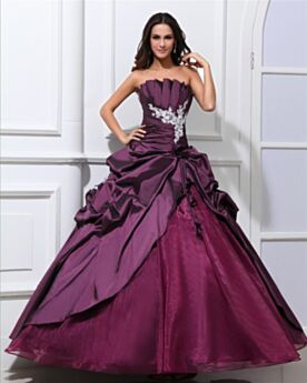 Bandeau Appliques Ruffle Open Back Engagement Dresses Prom Dresses Ball Gowns Plum Quinceanera Dresses Organza Spring