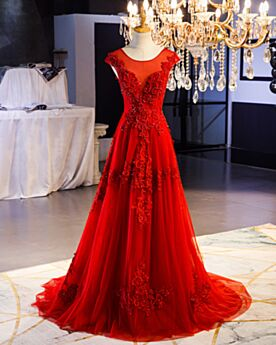Red 2019 Evening Dress A Line Sleeveless Prom Dress Long With Train Backless Lace