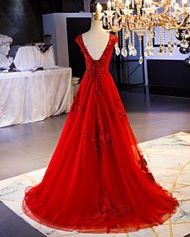 Robe De Bal Princesse Rouge Robe De Soirée Longue Robe De Ceremonie Dentelle Élégant Robe Fiancaille Dos Nu