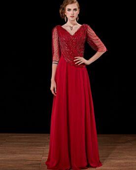 Robe Mère De Mariée Princesse Sequin Dos Nu Demi Manche Robes De Bal Longue Robe De Soirée Rouge Élégant