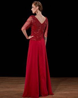 Half Sleeve Sequin Empire Backless Prom Dresses A Line Satin Evening Dresses Mother Of Groom Dress