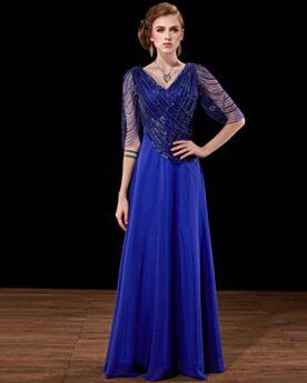 Princesse Longue Bleu Roi Paillette Dos Nu Robe De Bal Robe Habillée Demi Manche Robe Mère De Mariée Empire Robe De Soirée