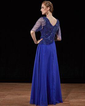 Brautmutterkleider Pailletten Elegante Lange Ballkleid Royalblau Rückenausschnitt Abendkleider