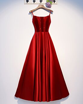 Vestidos Para Homecoming Espalda Descubierta Largos Satin Rojos Linea A Tirantes Vestidos Para Prom