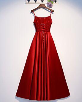 Robe Bal De Promo Longue Perlage Robe Ceremonie Chic Bretelles Fines Dos Nu Rouge Princesse Robes De Bal