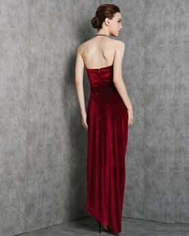 Slit High-Low Cocktail Dresses Fit And Flare Wedding Guest Dresses Velvet Open Back Sleeveless Simple
