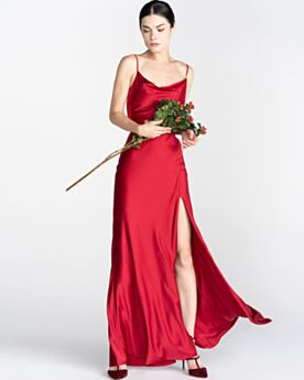 Evening Dresses Elegant Simple Split Front Spaghetti Strap Red