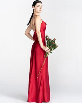 Lange Rückenausschnitt Rot Spaghettiträger Mit Schlitz Abendkleid Schlichte