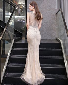Sheath Gala Evening Dresses Champagne Sparkly Homecoming Dresses Sequin Sleeveless Crystal