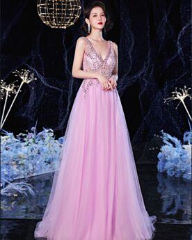 Abendkleid Elegante Lila Lange Rückenfreies Perlen 2020 Abiballkleider A Linie Ärmellos Tiefer Ausschnitt Schöne