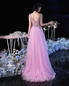 Princesse Belle Robe De Soirée Robe De Ceremonie Décolleté Robes De Bal Sans Manches Lilas Longue Élégant