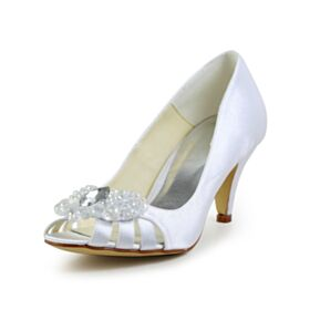 Bridal Shoes Peep Toe Satin 6 cm Heeled Stiletto White Pumps Shoes