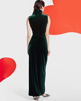 Etui Lange Vintage Samt Abendkleid Mit Schlitz Festliche Kleider Dunkelgrün Hochgeschlossene