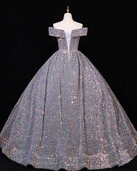 キラキラ 深 v ネック グレー プロムドレス オープンバック ロング スパンコール カラードレス 半袖 2021 1221100862