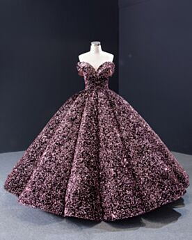 Off The Shoulder Party Gowns Prom Dress Quinceanera Dress Sweet 16 Dresses Sequin Mauve Pink Long Luxury Open Back Sparkly