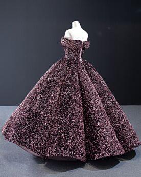 Robes De Bal Robe Quinceanera Longue Rose Luxe Epaule Dénudée Princesse Paillette