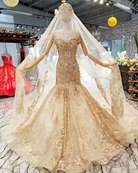 Herrlich Rückenfreies Gold Meerjungfrau Brautkleider Spitzen