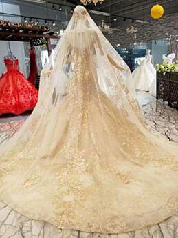 Sirène Dentelle Église Appliques Dorée Robes De Mariée Longue Luxe Tulle