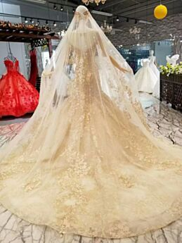 Tulle Open Back Mermaid Lace Gold Beading Long Bridal Gown